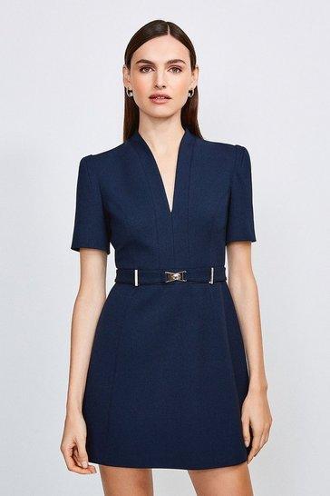 Navy Forever Cinch Belted  A Line Dress
