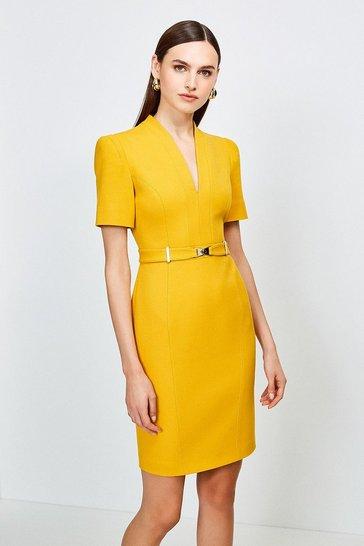 Ochre Forever Cinch Belted Pencil Dress