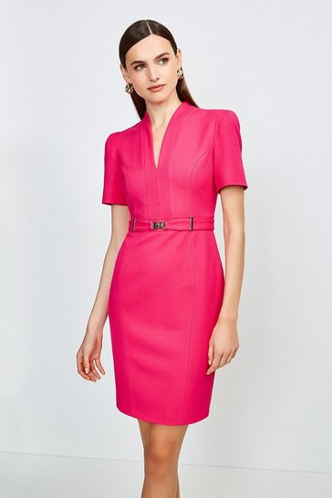Pink Forever Cinch Belted Pencil Dress