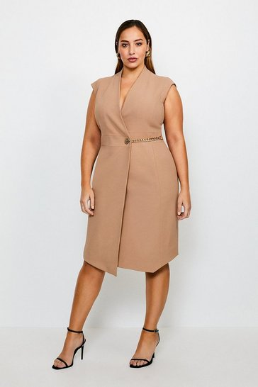 Camel Curve Compact Stretch Chain Link Wrap Dress