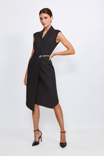 Black Compact Stretch Chain Link Wrap Dress