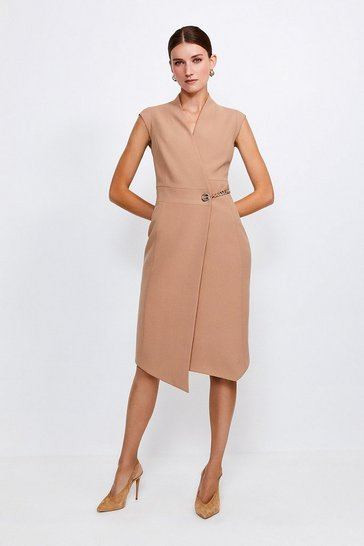 Camel Compact Stretch Chain Link Wrap Dress