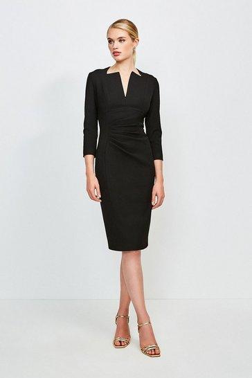 Black Sleeved Envelope Neck Dress