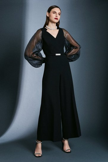 Black Structured Crepe Sheer Sleeve Jumpsuit