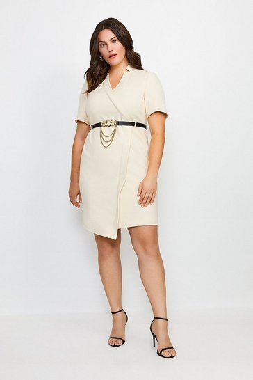 Cream Curve Forever Chain Wrap Dress