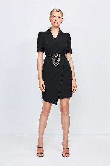 Black Forever Chain Wrap Dress