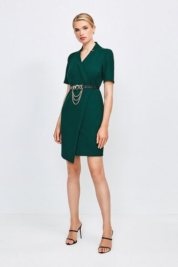 Forest Forever Chain Wrap Dress