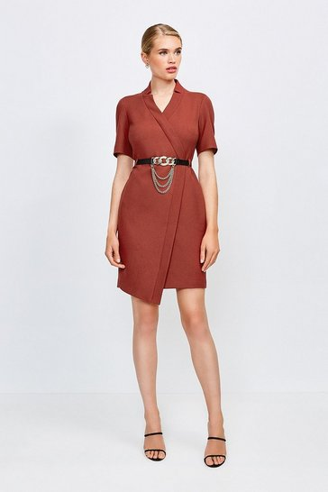 Rust Forever Chain Wrap Dress