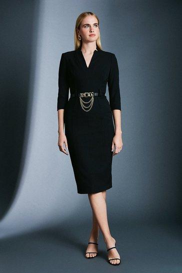 Black Forever Chain Belt Dress