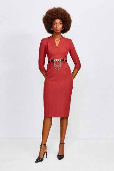 Rust Forever Chain Belt Dress