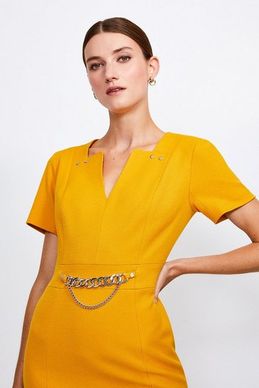 Ochre Structured Crepe Snaffle Dress