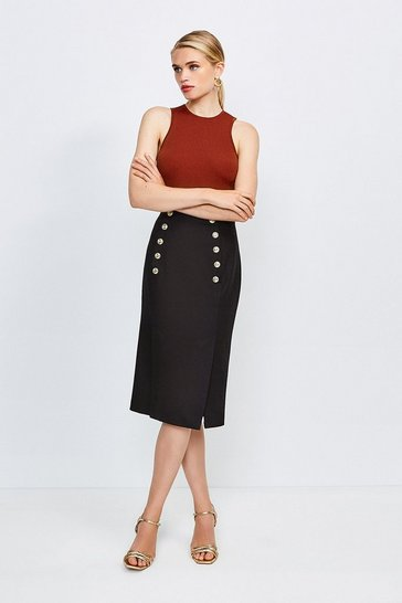 Black Tailored Button Pencil Skirt