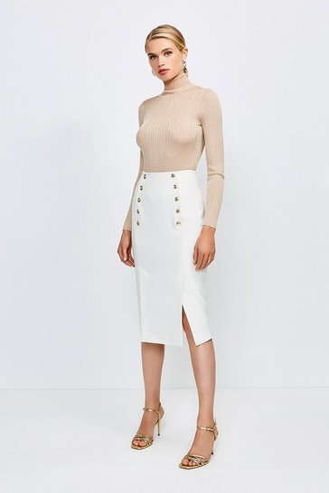 Ivory Tailored Button Pencil Skirt