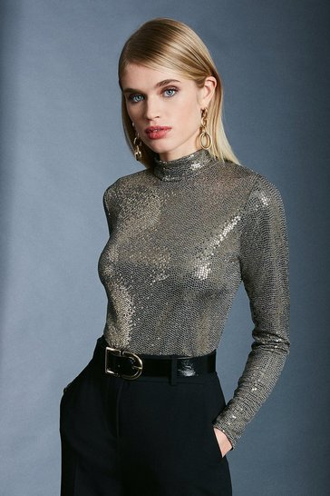 Gold Sequin Long Sleeve Funnel Neck Top
