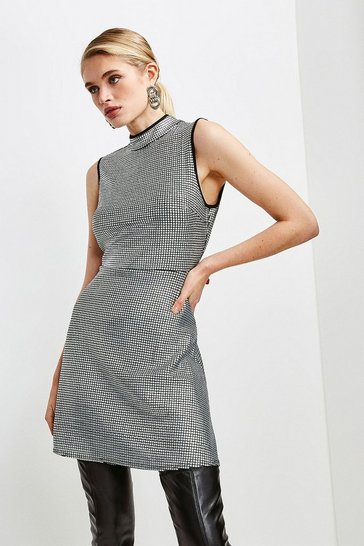 Silver Square Sequin Funnel Neck Jersey Dress