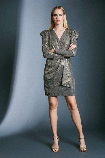 Gold Sequin Wrap Jersey Dress