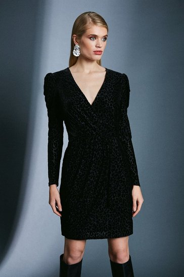 Black Leopard Devore Wrap Dress