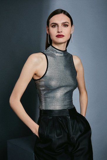 Silver Sequin Funnel Jeresy Top