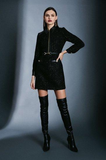 Black Sparkle Tweed Military Belted Dress