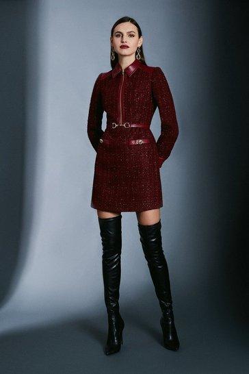 Merlot Sparkle Tweed Military Belted Dress