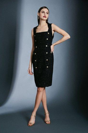 Black Sparkle Tweed Pencil Dress