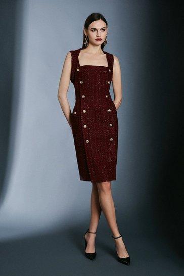 Merlot Sparkle Tweed Pencil Dress