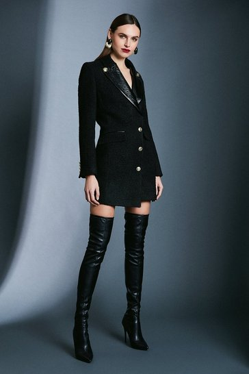 Black Boucle  Military Dress