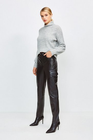 Black Leather Cargo Trouser