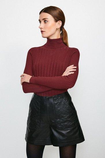 Black Quilted Pocket Leather Short
