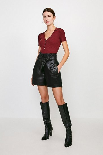 Black Paperbag Leather Belted Short