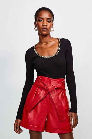 Red Paperbag Leather Belted Short