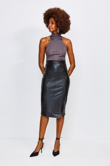 Black Leather Snaffle Trim Pencil Skirt