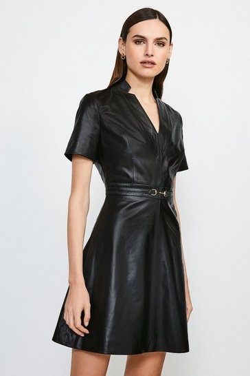 Black Leather Snaffle Trim A-Line Dress