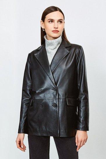 Black Leather Boyfriend  Blazer