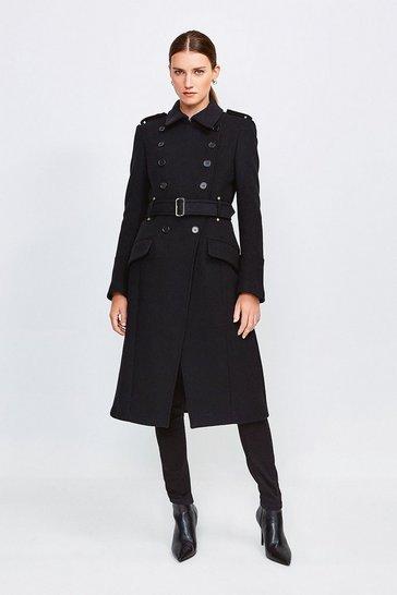 Black Italian Wool Blend Trench Coat