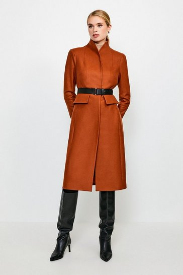 Rust Feminine Belted Wool Coat