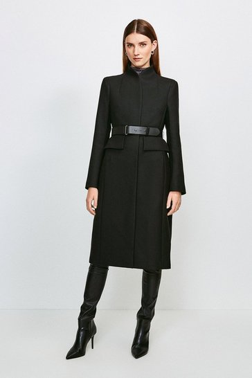 Black Feminine Belted Wool Coat