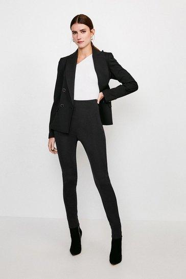 Black Italian Structured Jersey Leggings
