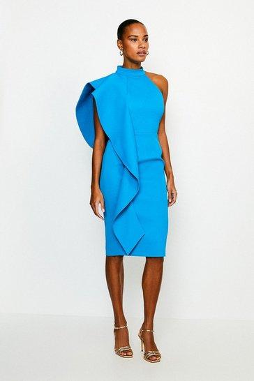 Turquoise Italian Structured Rib Frill Dress