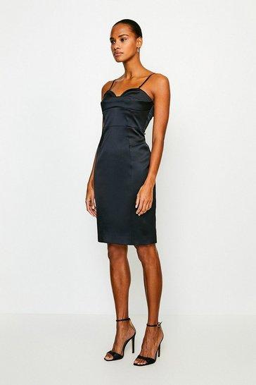 Black Italian Satin Multi Stitch Pencil Dress