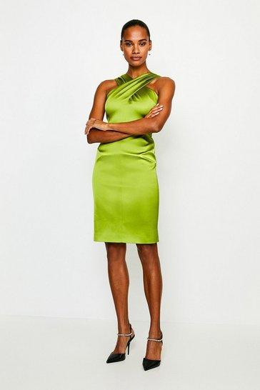 Chartreuse Italian Structured Satin Halter Neck Dress