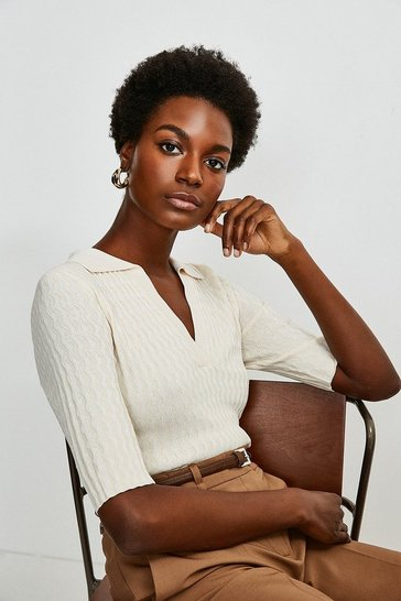 Cream Racked Rib Collar Knit Top