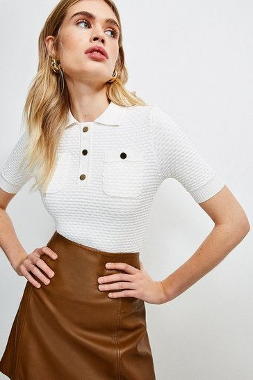 Ivory Texture Knit Polo Top