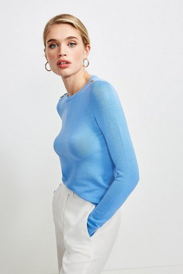 Pale blue Trim Detail Knitted Top