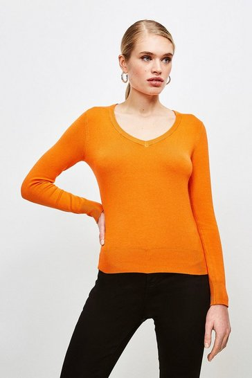 Orange Silver Popper V Neck Jumper