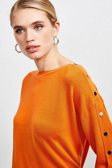 Orange Silver Popper Slouchy Jumper