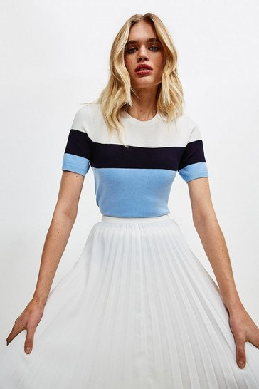 Blue Colour Block Knitted Top