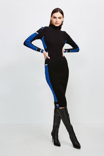 Black Colour Block Knit Dress