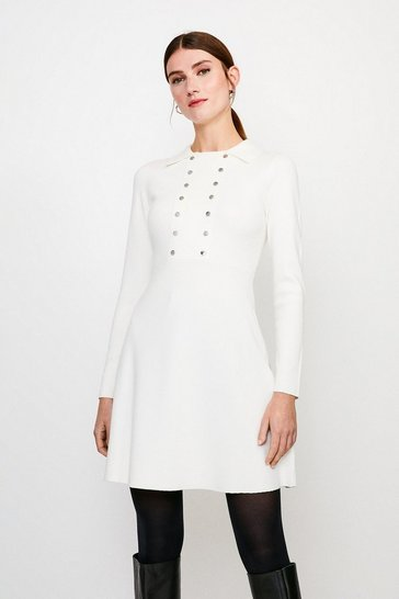 Ivory Double Rivet Front Knitted Dress