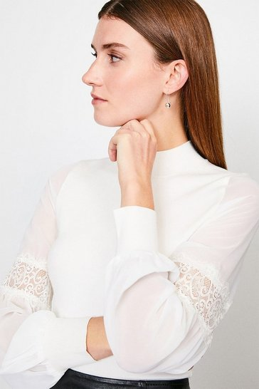 Ivory Sheer Sleeve Lace Knitted Top